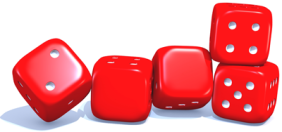 Red dice with numbers 2009
