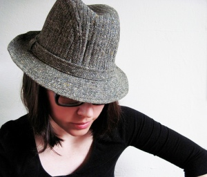 Vintage Tweed Fedora, Worn By a Woman
