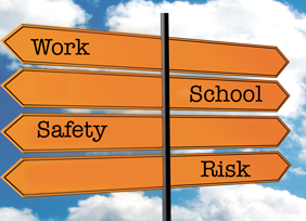 Grad School or Work? Safety or Risk? Signage. Original image Image courtesy of stock.xchng® (modifications made)