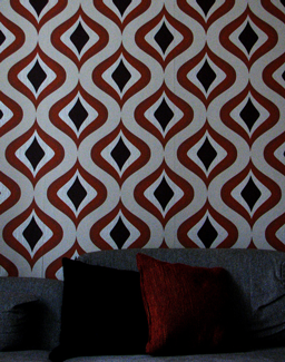 couch and wallpaper